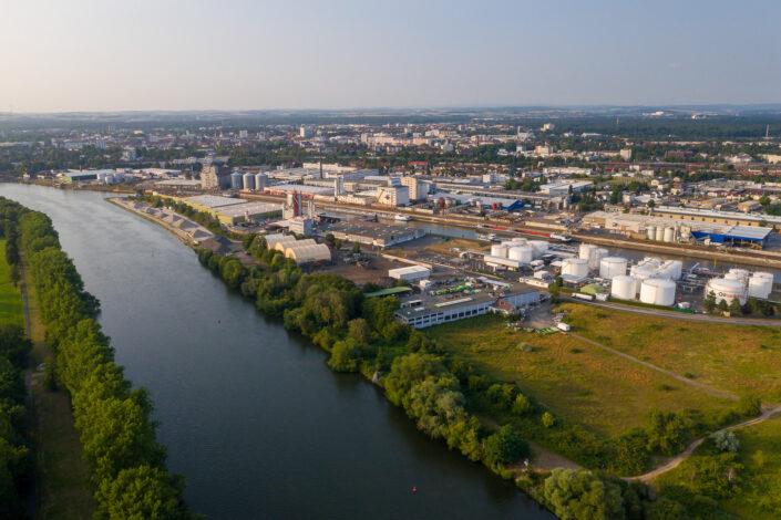 Hanau, Hafen Flugaufnahme