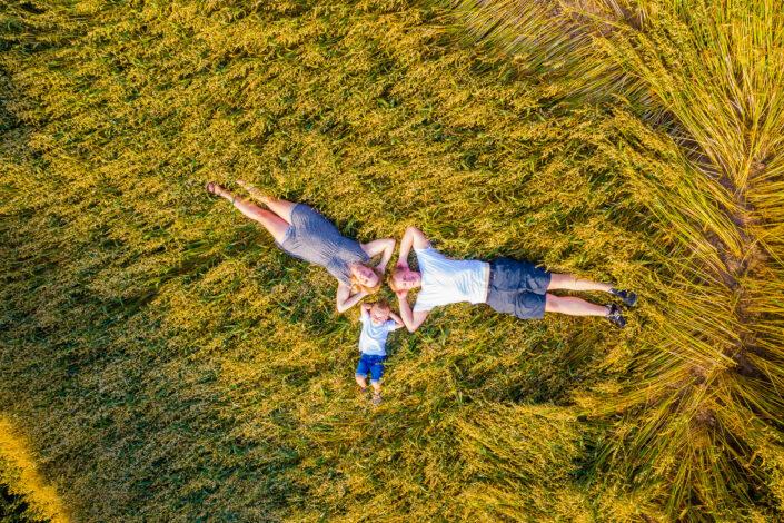 Luftaufnahme Familie im Feld